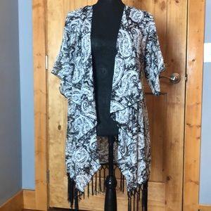 LulaRoe light weight fringed cardigan